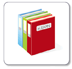 libri colorati con scritta e-learn
